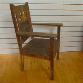 Antique Mission Arts and Crafts Oak Armchair