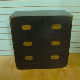 Black Campaign Chest with Interior Shelf Storage
