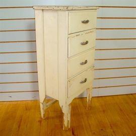 Vintage Shabby Kitchen Cupboard Chest of Drawers, Chrome Deco Handles