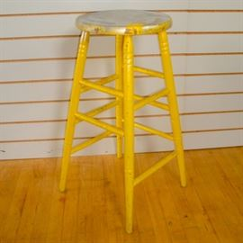 Tall Wood Stool Painted Yellow