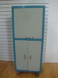 Retro Metal Storage Cabinet with Locking Wheels