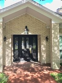 Leaded Glass Entry Doors with Sidelights -  Lanterns