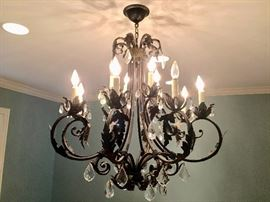 Large Iron and Crystal Chandelier