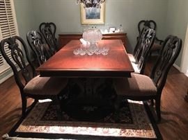 Oversized Solid Wood Dining Table - 8 Dining Chairs