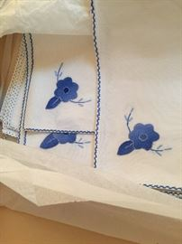 Gorgeous embroidered antique placemats, twelve total, pristine condition, square