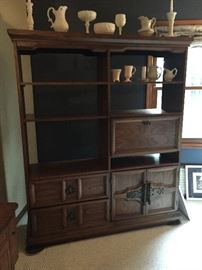 Large display cabinet, 1970s era, solid wood and is beautiful display for your keepsakes!