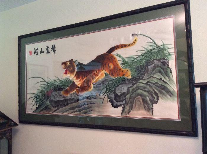 "Framed Asian Tiger Print, 54"" x 25""."