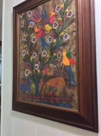 Colorful Framed Bird Art.