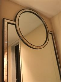 """Designer metal frame accent mirror with gunmetal finish and mercury mirror tile detail, 36"""" W x 63"""" H."""
