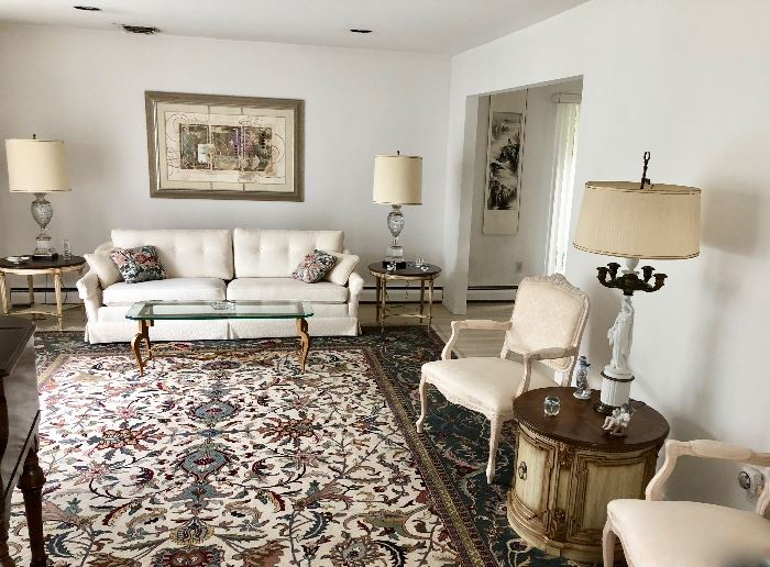 Formal living room sofa, Bergere chairs & tables & area rug