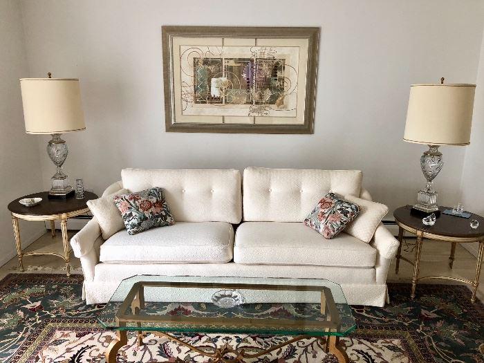 Sofa, coffee & end tables