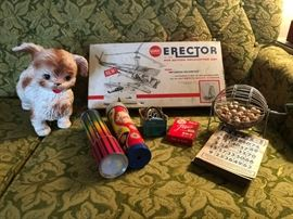 Vintage Toys - Squeaker Dog, Erector Set