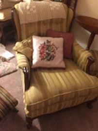 EARLY  STRIPED CHAIR  , AND ONE OF MANY  HAND DONE  TAPESTRY PILLOWS.