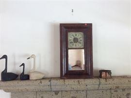 Antique clock, primitive wood geese