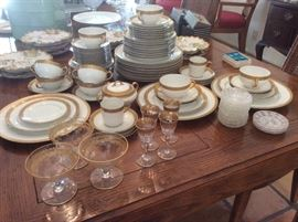 Limoges China with gold rimmed glassware