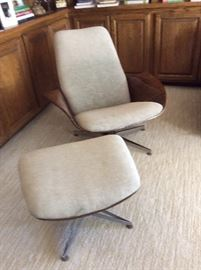 MCM molded plywood chair and ottoman, Eames style lounger