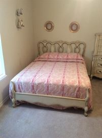 Nice full size bed, currently with Queen size mattress and foundation.