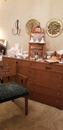 MID-CENTURY BUFFET AND ONE OF  THE 6 MATCHING CHAIRS  --  MILK GLASS AND OTHER FUN ITEMS like a hummel doll!