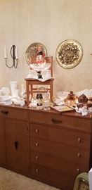 lots of milk glass  --  awesome mid-century  buffet  --and a hummel doll!