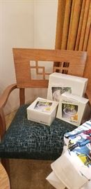 THE WONDERFUL ARM CHAIR (1 OF 2)  THAT GOES TO THE MID-CENTURY DINING SET  -- AND THINGS STILL IN ORIGINAL BOXES