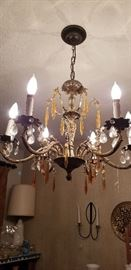 PRETTY VINTAGE CHANDELIER  --  will have to get after sale . it is still hooked up to electricity