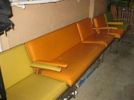 Mid-century Woodard vinyl sectional sofa & chairs, marked Lee L. Woodard, needs some reupholstering