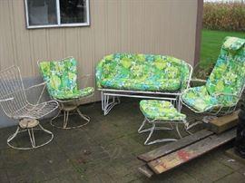 vintage Woodard swivel rockers  (3), love seat & footstool may not be Woodard