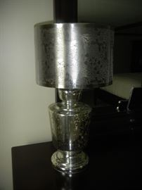 pair of silver antiqued glass lamps w/ hand-cut, perforated shade