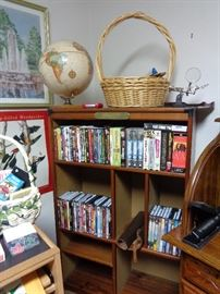 bookcase, lots of DVD's, CD's & records
