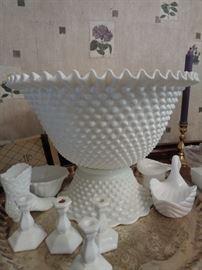 Fostoria milk glass hob nail punch bowl w/cups - love this piece