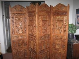 Hand Carved Wood Indian Partition Screen Room Divider Brown  72x80