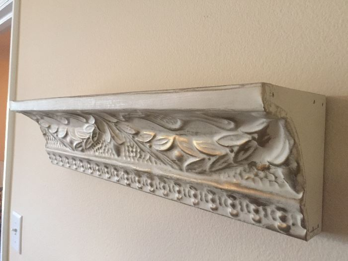 Two shabby chic wall shelves