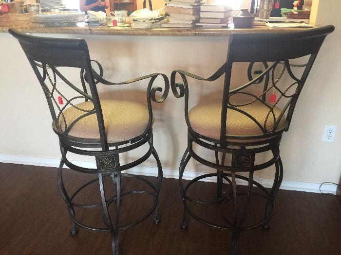 Metal upholstered swivel bar stools