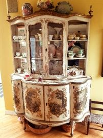 Delightful hand painted China cabinet.