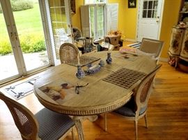 French provincial bleached table and eight side chairs