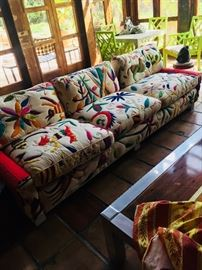 Colorful embroidered sofa