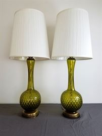 Mid-Century Green Glass Lamps: http://www.ctonlineauctions.com/detail.asp?id=763418