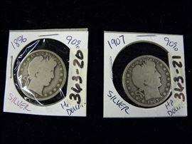 1896 & 1907 Barber Silver Half Dollars, Coins