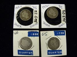 1898, 1899, 1905-S & 1912 Barber Silver Quarters, Coins