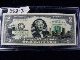 Oregon Commemorative Series 2003 Two Dollar Bill, Colored
