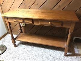 Oak sofa table.