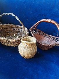 3 vintage baskets