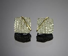 Pair 18K Gold and Diamond Cluster Earrings