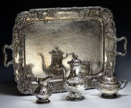 Gorham Sterling Silver Modernic Coffee Set & Tray