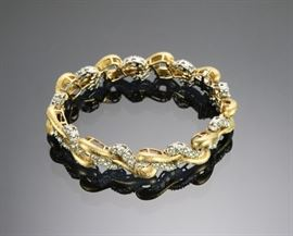 18K Yellow & White Gold & 12 ctw Diamond Bracelet