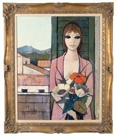 Charles Levier Oil on Canvas Woman with Flowers