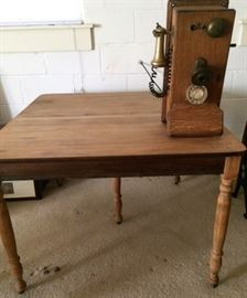 Antique/Vintage Wooden Table, Antique Wall Telephone