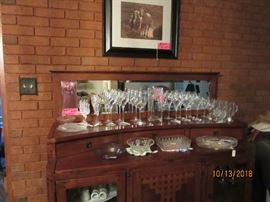 Buffet and Vintage dishes and crystal