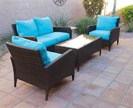 Beautiful 4-piece patio set, turquois cushions...kept covered. Excellent condition.