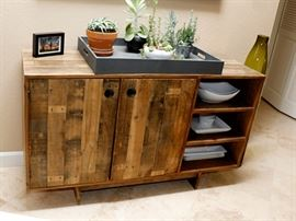 """West Elm reclaimed wood Buffet 54"""" x 18""""  has  2 shelves inside the doors. Buffet matches dining table and bench."""